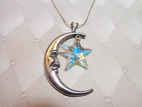 Crystal Star and Sterling Cresent Moon Necklace