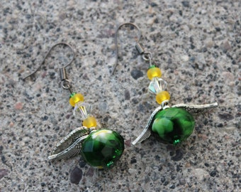 Winged and Crystal Duck earrings