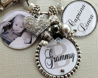 PERSONALIZED necklace, Photo pendant, Grandma jewelry, Mother's Day gift, Grandmother, birthday, Grandma Mom, Aunt gift, Black and White