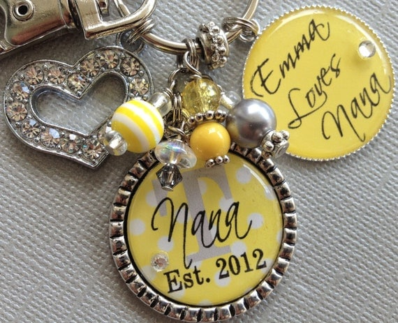 Nana gift, Mother necklace, Grandmother, Aunt, Mom, Mother's Day gift, Personalized gift, charm key chain, children's names, charm necklace