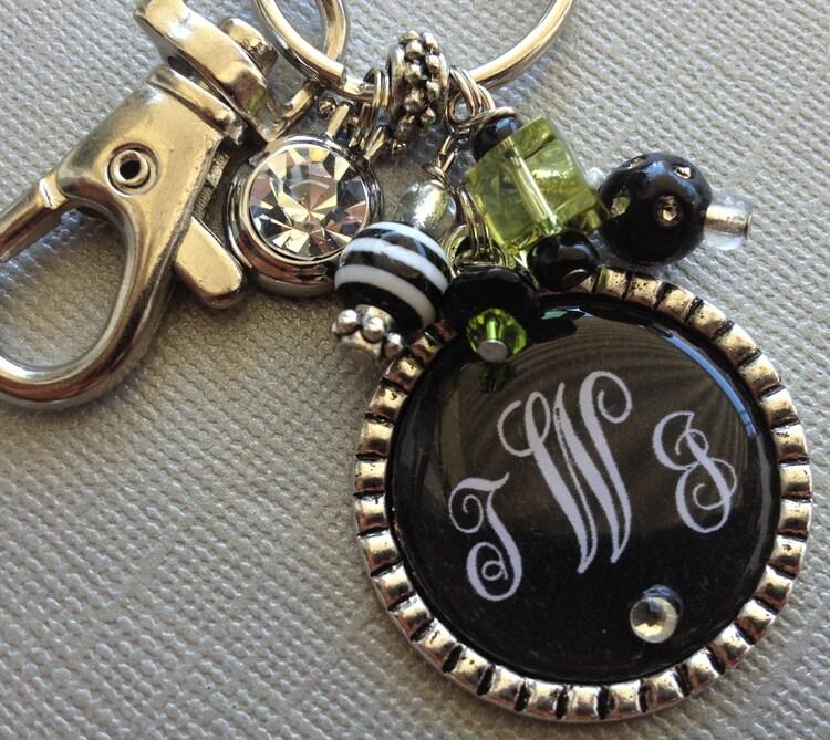 Monogram Keychain Initial Jewelry Rhinestone Charm By Buttonit