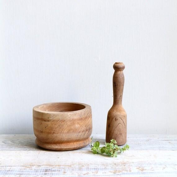 Vintage Wood Mortar and Pestle- Vintage Kitchen