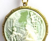 Vintage Mother and Child Cameo Necklace