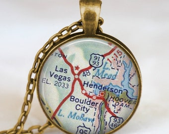 Las Vegas map necklace, Las vegas pendant, vegas map jewelry gift for him her with gift bag