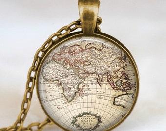 Vintage globe necklace, vintage world atlas pendant, world map jewelry, keepsake map pendant