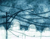 Original Print, Dry Point Etching of a Melbourne Urban Skyline Scene with Tram Lines in Deep Blue