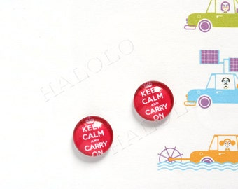 Sale - 10 pcs handmade Keep Calm and Carry On slogan clear glass dome cabochons 12mm (12-0518)