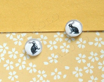 Sale - 10pcs handmade rabbit round clear glass dome cabochons 12mm (12-9733)