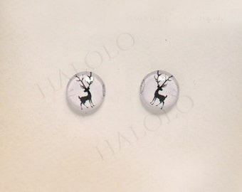 Sale - 10pcs handmade deer round clear glass dome cabochons 12mm (12-0611)
