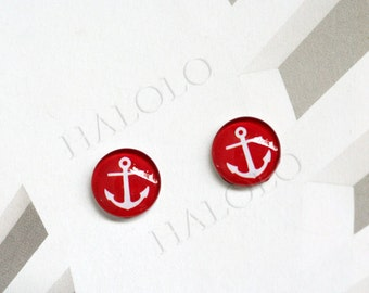 Sale - 10pcs handmade red anchor round clear glass dome cabochons 12mm (12-0657)