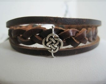Leather Bracelet Women's SALE Silver Infinity Knot Brown Braided Leather Wrap Cuff