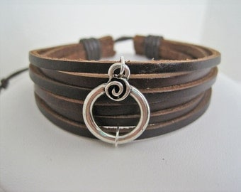 Leather Bracelet Women's Men  Circle Scroll Brown  Leather Wrap Bracelet Cuff COLOR OPTIONS
