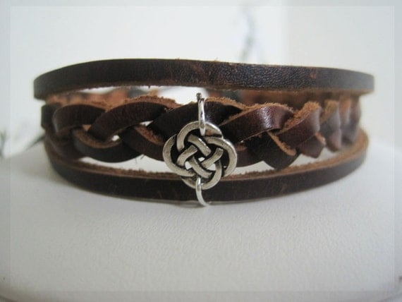 Silver Infinity Knot on Brown Braided Leather Wrap Bracelet Cuff