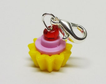 Custom Pink and Yellow Cupcake Charm