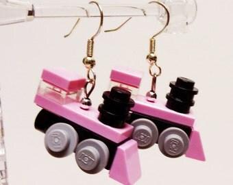 Mini Pink Train Engine Dangle Earrings