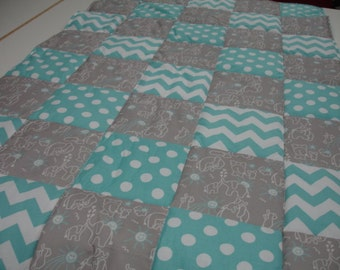Elephants You Are My Sunshine in Aqua Chevron and Dots Minky Blanket You Choose Size MADE TO ORDER No Batting