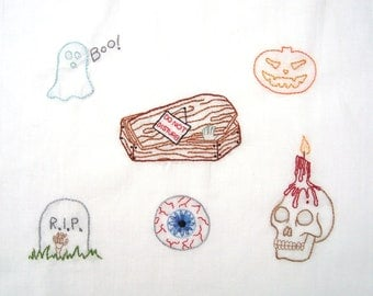 halloween hand embroidery pattern pdf 6 designs - Halloween Hand Embroidery Patterns