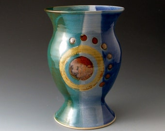 Handmade Ceramic Vase, Blue and Green, Home Decor, Vases, Ceramic Vessel