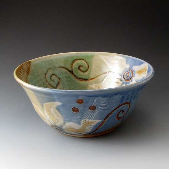 Serving Bowl with Flower Motif - Handmade Clay Bowl