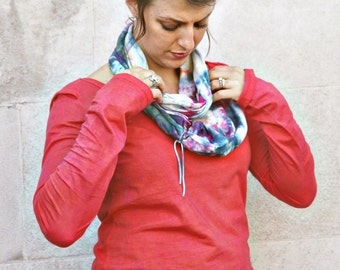 Bright Organic Cotton Hand-dyed Graffiti inspired Circle Scarf, infinity scarf, ready to ship, ON SALE