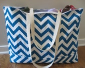 Beach Bag Extra Large - Electric Blue Chevron Beach Tote - Water Resistant Lining - Interior Pocket