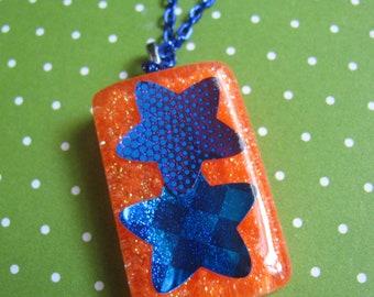 Orange 80s Stars Resin Necklace