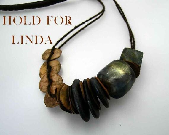 Urban Primitive Epic Slate and Bronze Discs Necklace:  Bronze Discs, Slate Pebbles and Basha Bead
