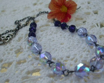 Purple Czech Glass Antiqued Silver Necklace- Vintage Inspired