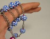 Long beaded necklace, Little Blue Flowers in Blue