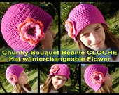 Design Your Own... CHUNKY CLOCHE Bouquet Beanie Hat with Interchangeable Flower - Upick Hat Size/Color & Flower Color-Great Photo Prop