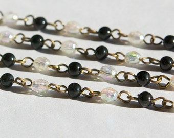 Vintage Black with Clear AB Plastic Beaded Chain Raw Brass Links Japan chn073