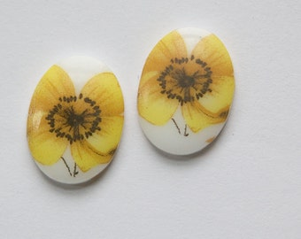 Yellow Flower Daisy Vintage Glass Cabochons Japan 18mm x 13mm cab424J