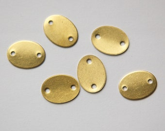 2 Hole Raw Brass Flat Oval Connector Link (8) mtl168