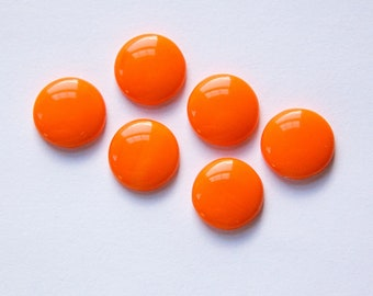 Vintage Opaque Orange Glass Cabochons 11mm cab703U