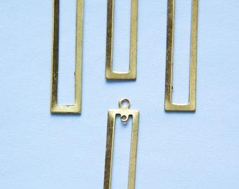 2 Hole Raw Brass Long Rectangle Pendant Drop 42x9mm (4) mtl054F