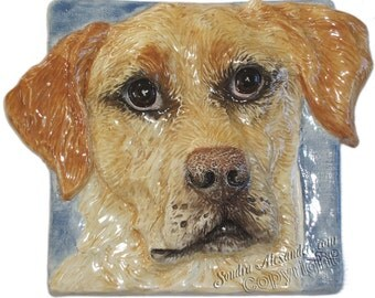 Labrador Retriever Ceramic Portrait Sculpture 3D Dog Art Tile by Sondra Alexander Made to Order