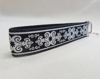 Senechal Metallic Silver Black Key Fob, Key Chain, Jacquard