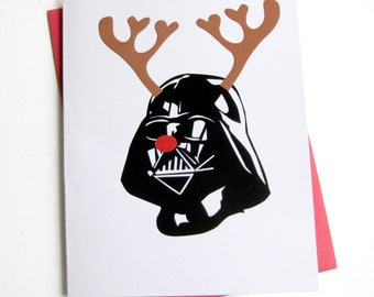 Christmas Card Set of 10 // Star Wars Inspired // Reindeer Darth Vader