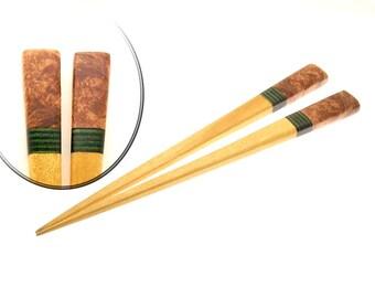 Handmade Wood Hair Stick Set Yellowheart Wood with Brown Box Elder Burl Wood