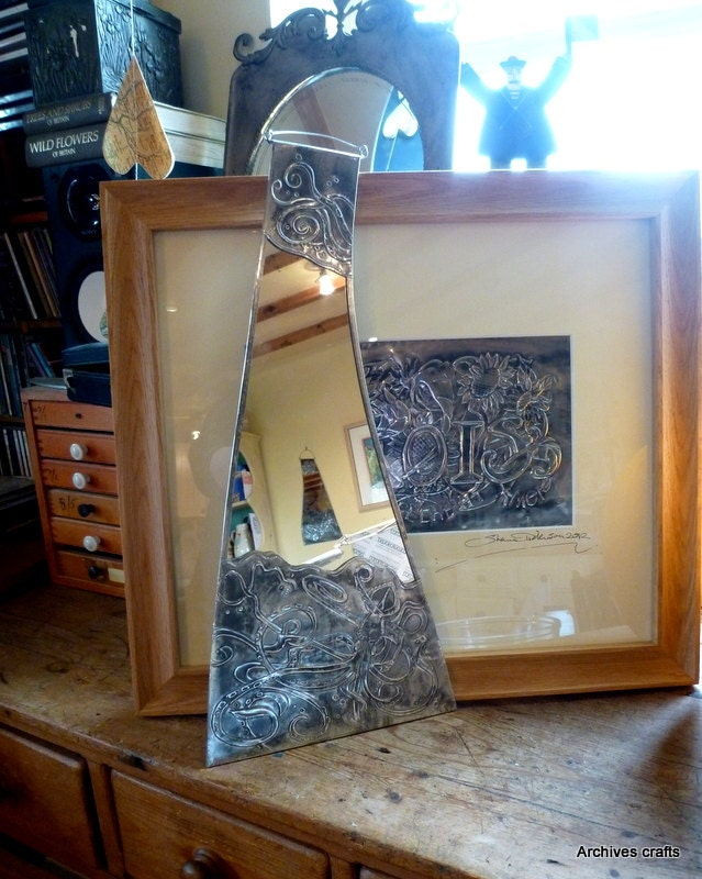 Art and crafts style bathroom mirror squid design for Arts and crafts style bathroom design