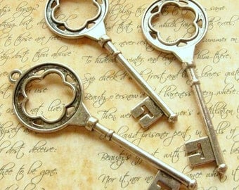 Silver Key Charms - Set of 3 - 75mm Large - Antique Silver Finish 3 Inches (7.5cm) Long (SC0073)