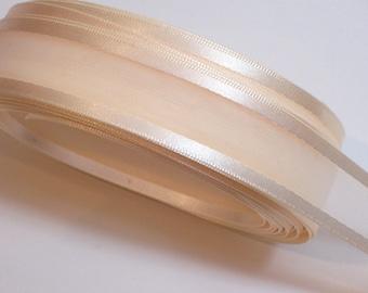 Ivory Ribbon, Antique Ivory Satin Edge Organza Ribbon 3/4 inch wide x 10 yards