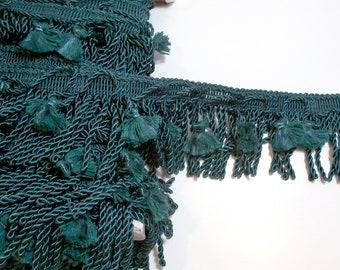 Green Fringe, Hunter Green Tasseled Bullion Fringe Sewing Trim 3 5/8 inches wide x 3 yards