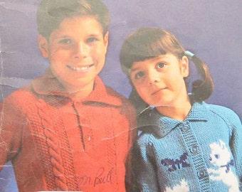 Vintage Beehive Raglans Childrens Sweater Knitting Pattern Book