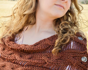 Brown Cabled Drop Stitch Infinity Scarf with Buttons
