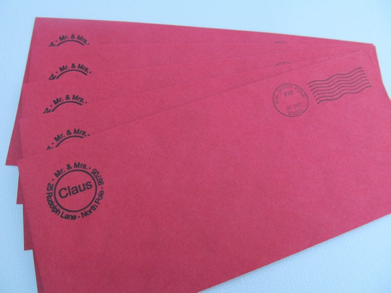 Santa Claus Envelopes Return Address North Pole Set By