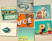Vintage signs, guest room decor, typography, seaside vacation, motel signs, funky photos, hipster - Jersey Shore 8x10 set