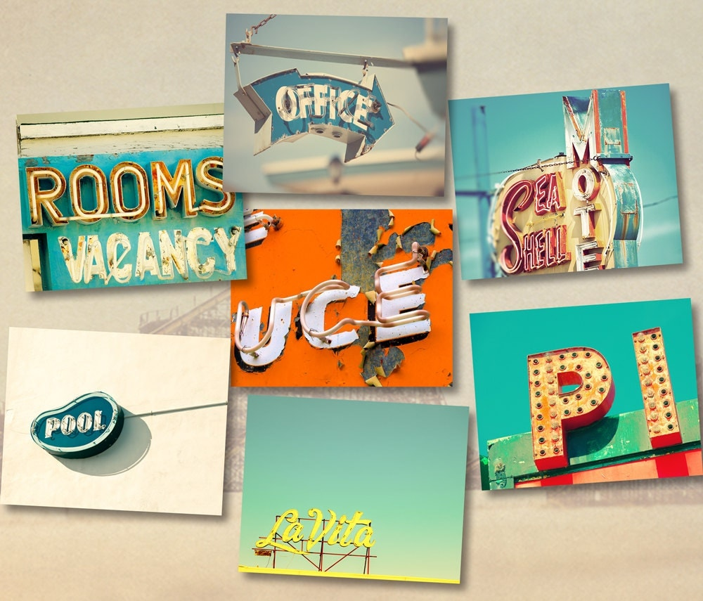 vintage signs guest room decor typography seaside vacation