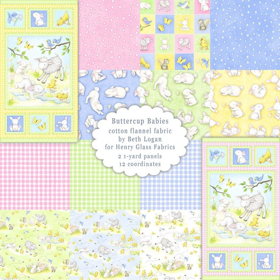 Buttercup babies cotton flannel fabric by the yard by for Children s flannel fabric by the yard