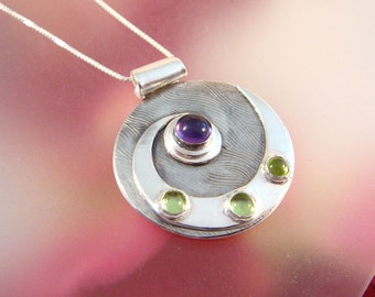 Nautilus - Fine Silver Pendant with Amethyst and Peridot